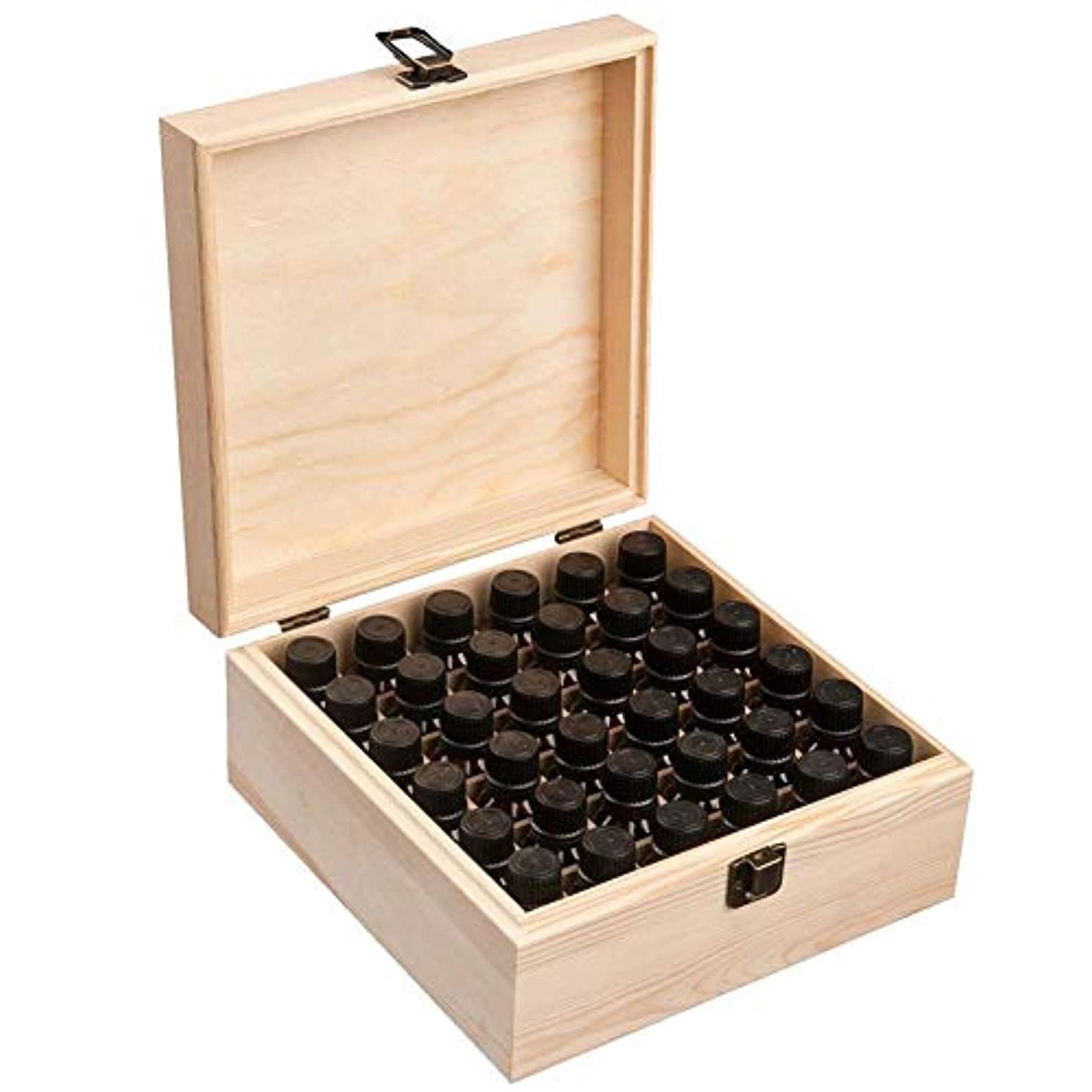以降無条件申し立てるエッセンシャルオイル収納ボックス 純木の精油の収納箱 香水収納ケース アロマオイル収納ボックス 36本用