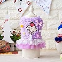 小型犬テディチワワについては秋冬犬ドレスポリエステル恋人ケーキの糸ペットスカート子犬猫ドレスペットコスチューム:紫、XL