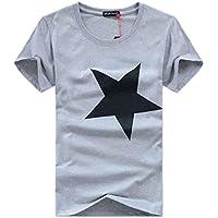 Aliciga メンズ Tシャツ 半袖 Oネック シャツ 五芒星 綿 ストリート系 無地 星の柄 当店サイズチャート付き