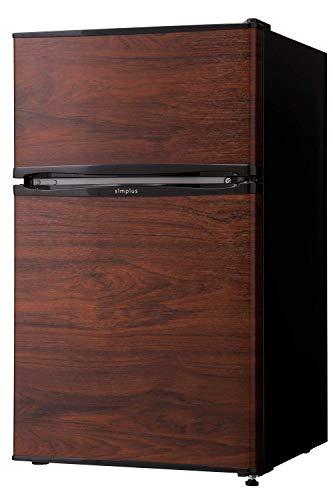 冷蔵庫 simplus シンプラス 2ドア冷蔵庫 90L SP-90L2-WD ダークウッド 冷凍庫 2ドア 省エネ 左右 両開き 1人暮らし 木目