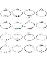 YADOCA 16 Pcs Simple Silver Gold Tone Bracelets for Women Cute Pearl Heart Cross Infinity Symbol Bracelet Tiny Charm Dainty Bracelets Set Adjustable