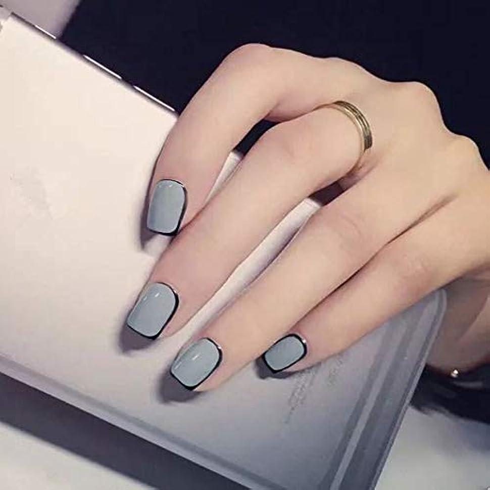 ゆりかご物足りない香水XUTXZKA ブラックラップパターンフルカバー仕上げ24爪グレー色偽爪ステッカー