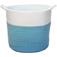 velabeeコットンロープバスケットの装飾ストレージ – でまぶしCaribbean Blue for any decor and any occasion。