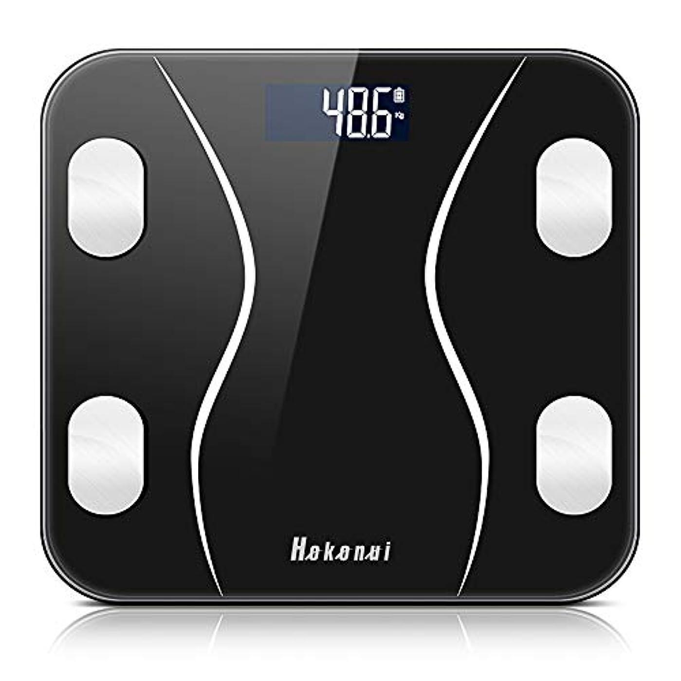 細い精査する書く体重計 体組成計 体脂肪計 Bluetooth LCDデジタル表示 強化ガラス 高精度センサー スマートスケール 体重/体脂肪率/BMI/BMR/体内水分/骨量/骨格筋など測定 健康管理 最大180KGまで測り Kungix