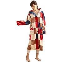 mofua ( モフア ) 着る毛布 プレミアムマイクロファイバー ルームウェア フード付き 着丈110cm チェック柄 レッド 484764C8