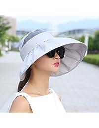 IAIZI レディース折りたたみ式サン帽子、夏用カジュアル屋外用サンプロテクションロング帽子寝袋空のトップビーチ帽子 (色 : Gray)