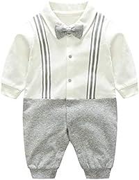 Mum&nny ベビーフォーマルロンパース 男の子 新生児服 結婚式 洋服 長袖 蝶ネクタイ付き 出産祝い 白+グレー 73cm