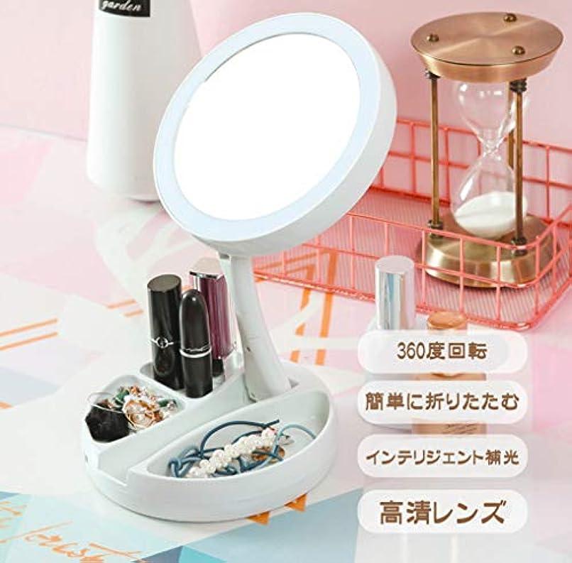 入り口準備ができて減らす化粧鏡 化粧ミラー 化粧鏡 女優ミラー 卓上鏡 USB充電式や電池化粧ミラー 折りたたみ式 多機能LED10倍 両面化粧ミラー 卓上鏡