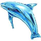 Toyvian 党結婚式のための巨大なイルカのアルミホイルの風船(青)