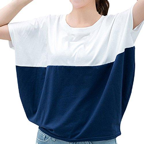 Zhaozheシャツ レディース ブラウス 半袖 Tシャツ 体型カバー バタフライ袖 ドルマン 丸ネック トップス 春 夏 通勤 普段着