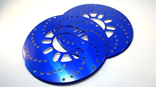 ダミー ディスク ブレーキ ローター 2枚セット ドラムブレーキ が 大変身 ドレスアップ ハイエース キャラバン 等 4穴 5穴 対応 (ブルー)
