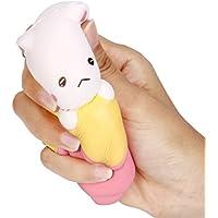 Slow Rising子供おもちゃ、Hunzed新しいジャンボバナナ猫ケーキクリーム香りつきケーキおもちゃソフト電話ストラップAbreact Toy