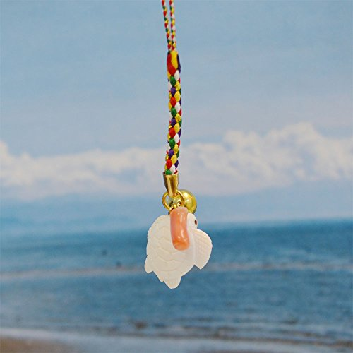 亀 白珊瑚製 根付 桃色珊瑚付き カラフル紐