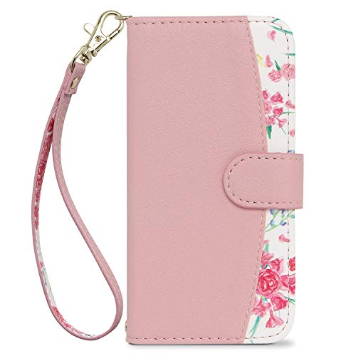 [MINTY] iPhoneSE iPhone5s 5 ケース 手帳型 ストラップ付き 花柄 Fleucia (フルーシア) ピンク