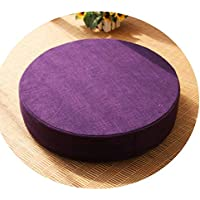 クッション丸い畳綿のリネンアート布団和式洗濯クッション瞑想ヨガマット,ダークパープル,直径50cm厚6cm