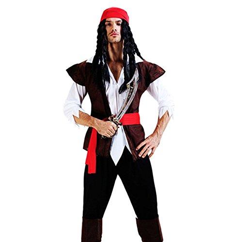 ROZZERMAN 大人 カリブ 海賊 コスプレ 衣装 セット コスチューム 仮装 パイレーツ オブ カリビアン パーティ ハロウィン メンズ レディース X1 (◼︎メンズ)