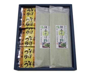 宇治・抹茶そば 『極』 12人前つゆ付 宇治抹茶 厳選使用  贈答にお使いいただける品質の高い1番茶のお抹茶をたっぷり使用した西出製茶場オリジナルの茶そばです。氷で締めると格別!
