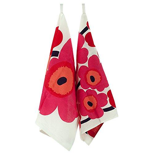 [ マリメッコ ] Marimekko ティータオル 2枚セット 70×47cm ウニッコ 066943 ホワイト/レッド(001) [並行輸入品]