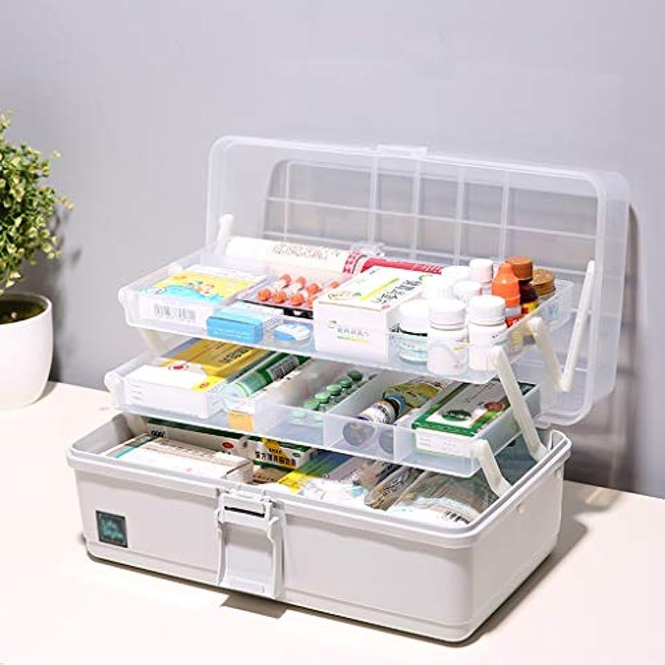 学ぶ調整可能札入れ薬箱多機能ポータブル三層薬収納ボックス小さなツール収納ボックスは化粧品を格納することができます33×18×17.5センチ SYFO (Color : Gray)