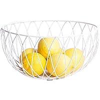 キッチンフルーツバスケットリビングルームのスナック収納バスケット錬鉄白(25.5 * 13 * 9.5cm)