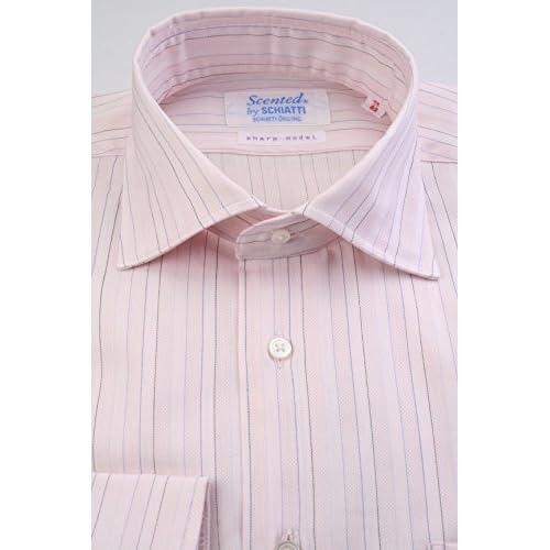 (スキャッティ) Scented ライトピンク地 ブルー系 ペンシルストライプ 100番手 双糸 ワイドカラー (細身) ドレスシャツ wd4010-4185