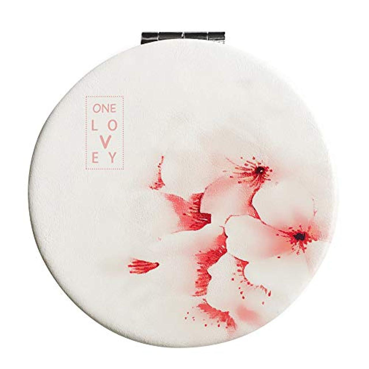 ディスパッチ親実質的コンパクトミラー 手鏡 折りたたみ 割れない 3倍拡大鏡付き 桜 丸型