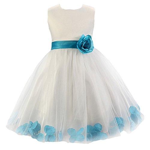 EOZY 子供 ドレス プリンセス 女の子 ガールズ ワンピ リボン 花飾り 上質 キッズ フォーマル ワンピース 結婚式 ピアノ 発表会 ブルー 130