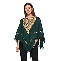 Indian Kashmiri Women's Poncho/Overcoat Hand Embroidery Paisley Work with Inner Lining (Free Size)