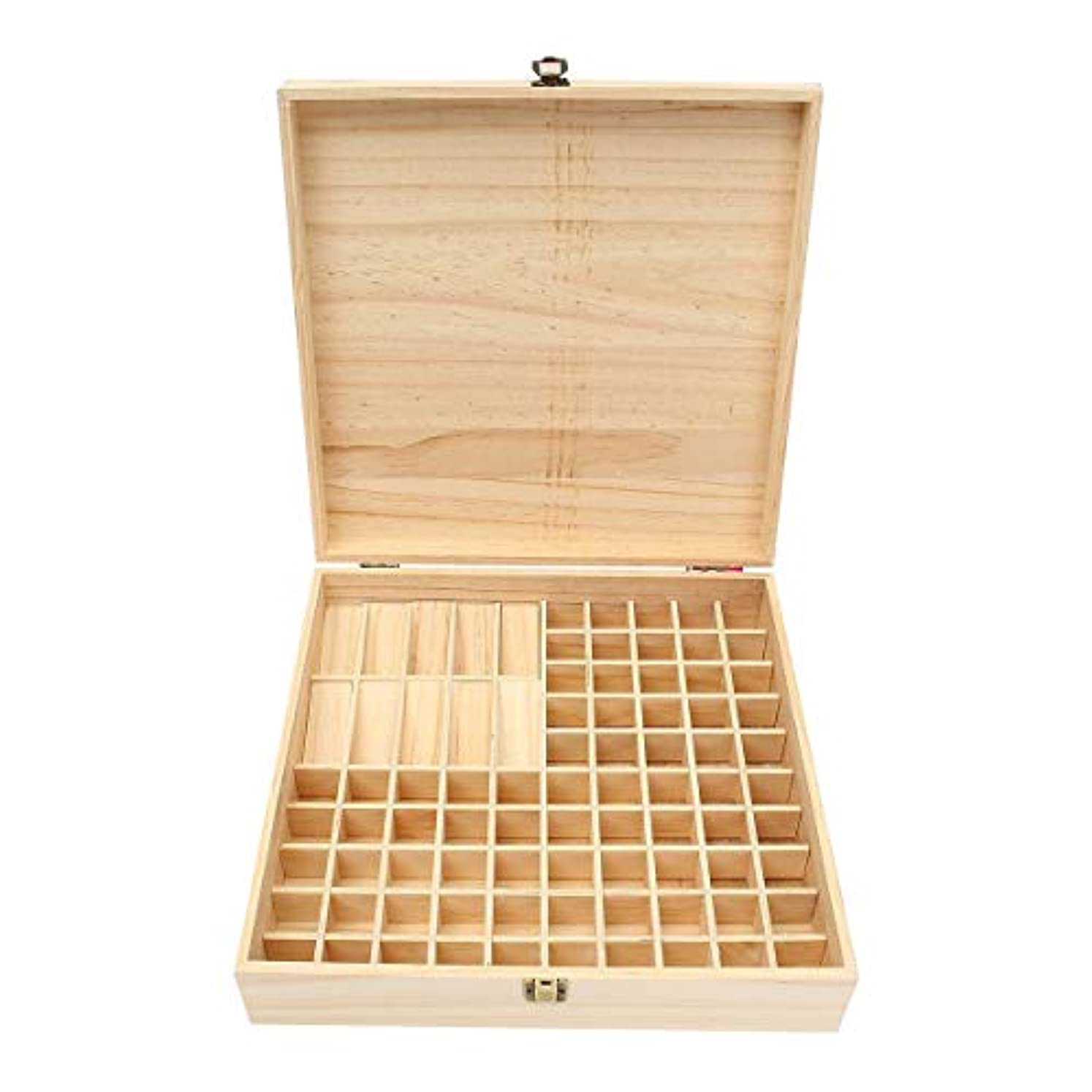 モルヒネパスタ行うTINKSKY エッセンシャルオイルケース アロマケース 木製 アロマオイルスタンド 精油ボックス 精油収納 仕切りボックス 85本収納