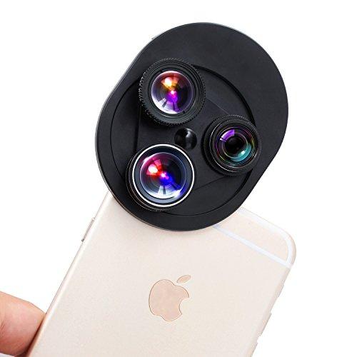 スマホレンズ本当の4in1デザイン 4点セットセルカレンズ all in 1 0.63x広角 198°魚眼 15xマクロ CPL偏光レンズ 通光穴2個あり クリップ式 軽量 全機種対応 巾着袋付き iPhone 7/6/6s /Samsung Galaxy S7/S7 Edge/S6/S6 Edge/Sony/HTC/Huawei スマートフォン/iPad タブレットPCなど対応(ブラック)