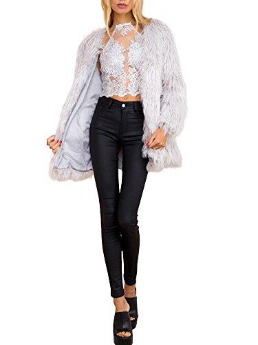 Simplee Apparel Women's Long Sleeve Fluffy Faux Fur Warm Coat 0/2 Gray