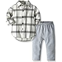 LJYH Baby Boys Causal Plaid Long Sleeve Shirt and Pants Outfits Set