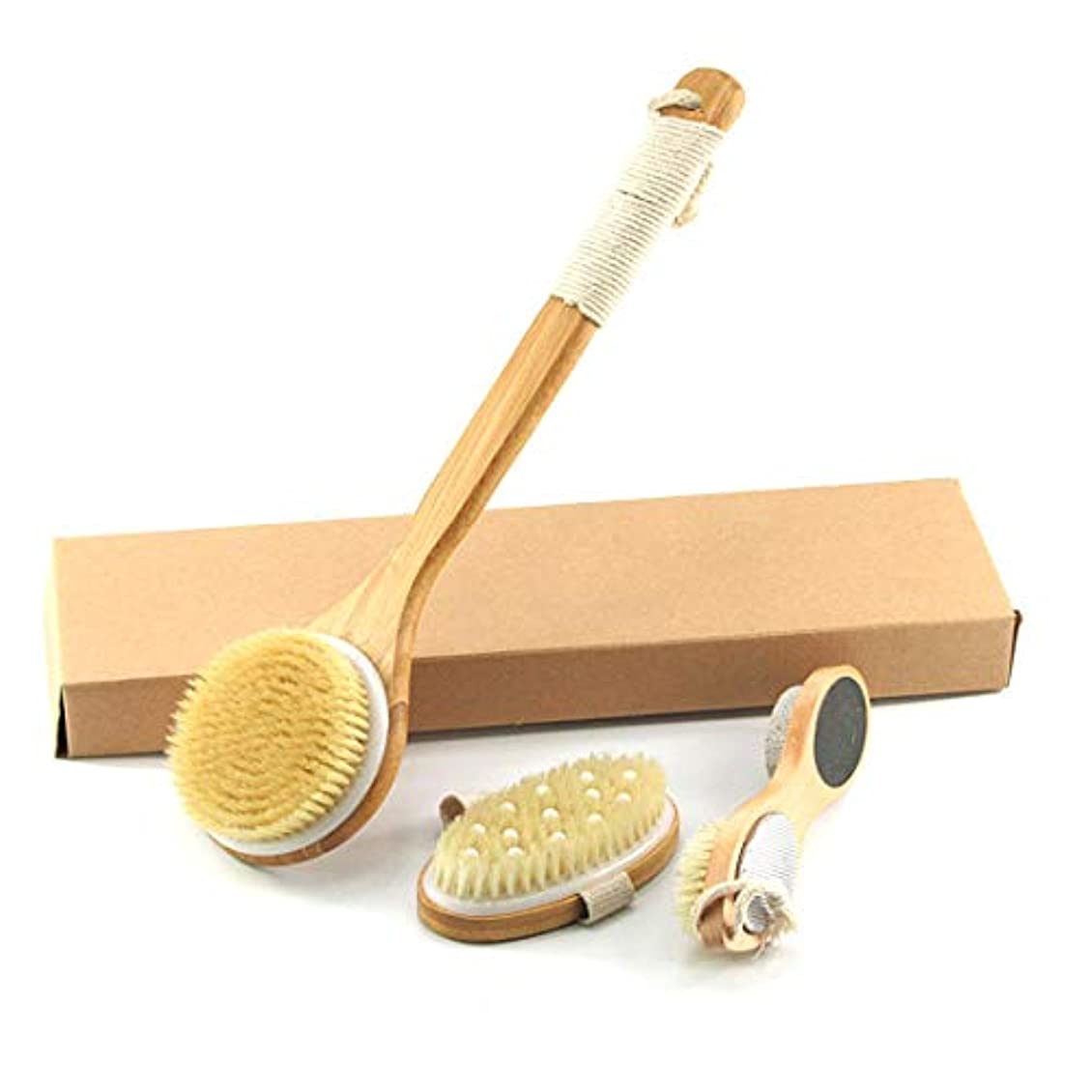 動月曜日調整可能Rerii ボディブラシ 三点セット 豚毛 体洗いブラシ 背中ブラシ 足ブラシ 全身マサージ 天然竹製 滑り止め付き