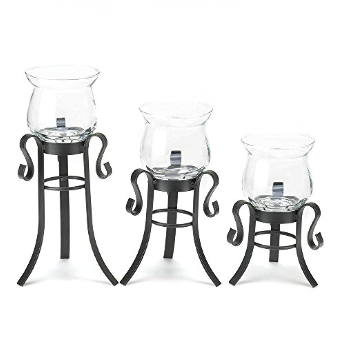テーブルを設定する住所染料アンティークガラスキャンドルホルダー、小さな装飾Allureのセット3キャンドルホルダー