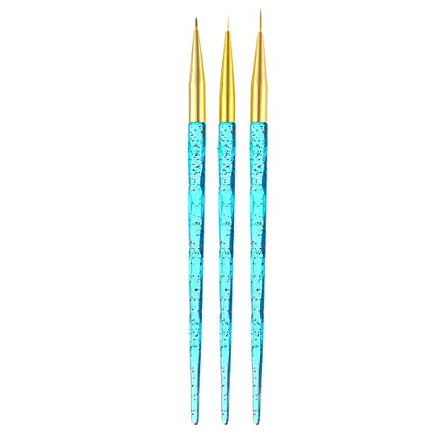 見る人不適切な日食ACAMPTAR 3ピース/セット、ネイルアート、クリスタルのハンドル、フレンチのフラワーのデザイン、ライン、ライナー、グリッド、絵画描画ブラシUv ジェルのペン、マニキュアのツール