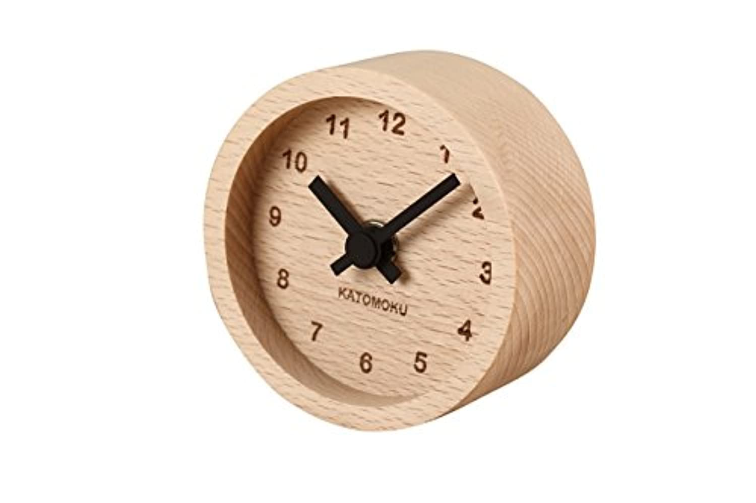 KATOMOKU muku mini clock km-26 丸 黒 木 ビーチ