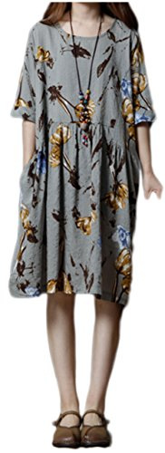 [해외][사자 가든] 체형 커버 꽃 무늬 원피스 넉넉한 포켓 여성 M ~ XL/[Lion Garden] Body Cover Floral Pattern One Piece Loose Pocket Women`s M ~ XL