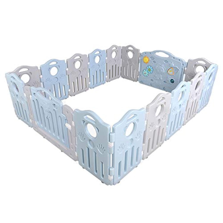 ベビーサークル, クロールマットとボール付きポータブル非毒性ベビープレイペン、幼児用16パネル着脱式プレイヤード - 200×160.5×60cm (色 : 青)