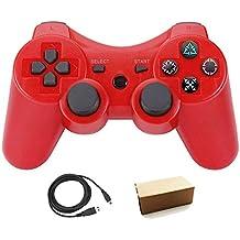 Pueleo PS3用 ワイヤレス デュアルショック3 ワイヤレスコントローラー互換 日本語説明書 USB ケーブル付属(赤)