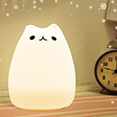 Meicent 萌え猫 ランプ ベッドランプ 雰囲気七色のグラデーション呼吸ライト USB充電 24時間照明