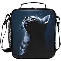 VAWA ランチバッグ お弁当バッグ 猫柄 保冷バッグ 保温 かわいい お弁当袋 大容量 弁当箱 ランチボック 防水 食品収納 通勤 通学 高校生 子供用 黒い猫