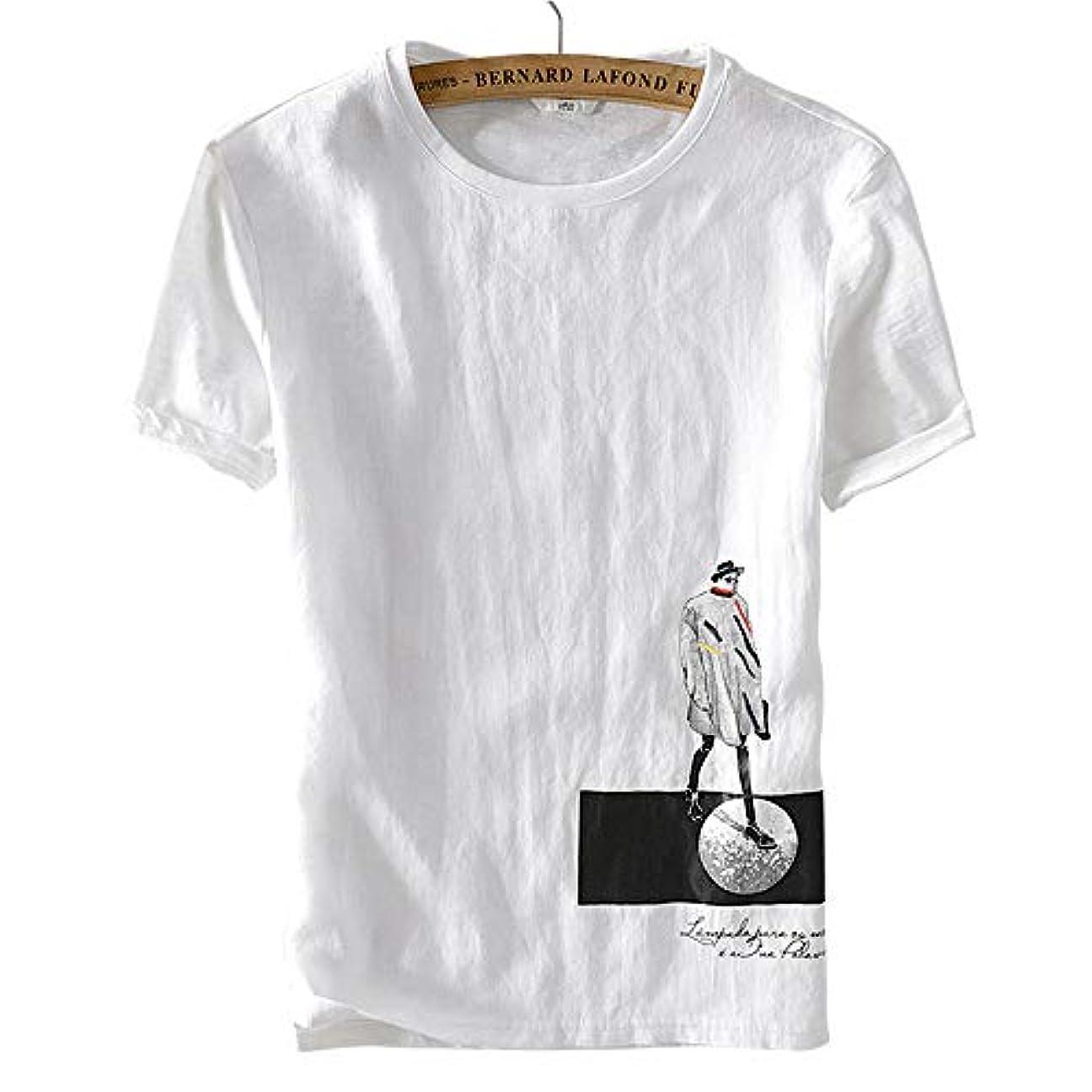 部門ワーカー獣リネン半袖tシャツ 刺繍 白シャツ 無地Tシャツ クルーネック 大きいサイズ 通気性