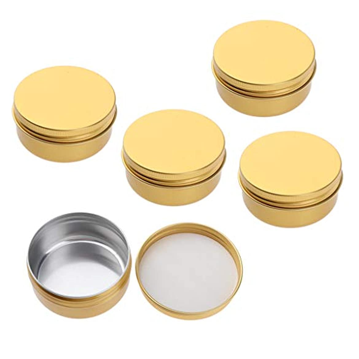 好み気分が悪い谷5パックゴールドアルミ缶空のスリップスライドラウンドコンテナーボトルリップクリーム、クラフト、化粧品、キャンドル、旅行用のネジ蓋付き - 50ミリリットル