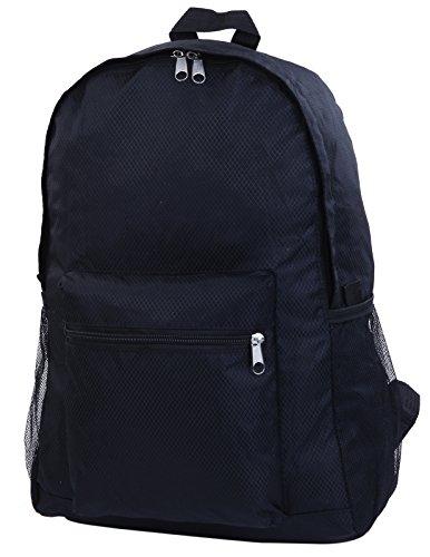 折りたたみ リュック リュックサック 旅行 携帯 軽量 コンパクト エコバッグ (ブラック)