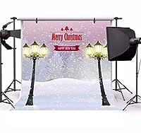 Leyiyi 10x10フィート メリークリスマス 写真 背景 雪 街灯 ホワイト 世界 雪 カバー 冬 玄関 森 ピン 木 背景 ハッピーニューイヤー クリスマス 写真 ポートレート ビニール 小道具