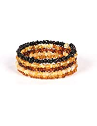 AMBERAGE Natural Baltic Amber Bracelet for Adults - Hand Made from Polished/Certified Baltic Amber Beads(Multi)