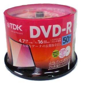 TDK データ用 DVD-R 4.7GB 1-16倍速対応 ワイドプリンタブル対応 ホワイトレーベル 50枚スピンドル DR47PWC50PUC