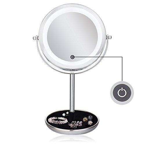 (セーディコ)Cerdeco タッチパネル調光 くぼみ付き 真実の両面鏡DX 5倍拡大鏡+等倍鏡 LEDライト付き 両面化粧鏡 鏡面φ175mm D702T (D702T / 5倍拡大 / くぼみ付き / 円型)