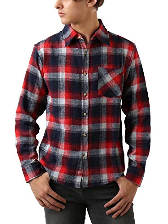 ペルソナ黒板プライバシー[REPIDO (リピード)] チェックシャツ フランネル ネルシャツ チェック シャツ メンズ 長袖 フランネルシャツ B柄 Lサイズ