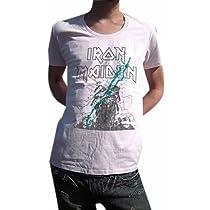 こいつは革命です BUY OR DIE ハードロック古着とは一線を画す 現代版スタイリッシュ メイデンUネックTシャツ IRON MAIDEN アイアン・メイデン PAINT MAIDEN (L, LIGHTPINK)
